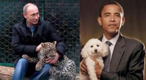 Putin e il suo amico Obama con due barboncini
