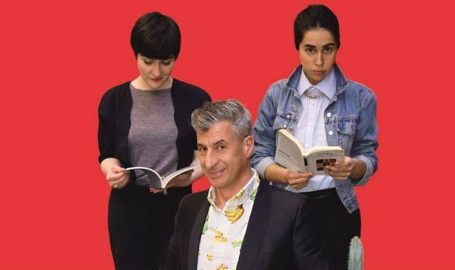Fig.2 Maurizio Cattelan con il suo team curatoriale. Da sinistra Myriam Ben Salah e Marta Papini