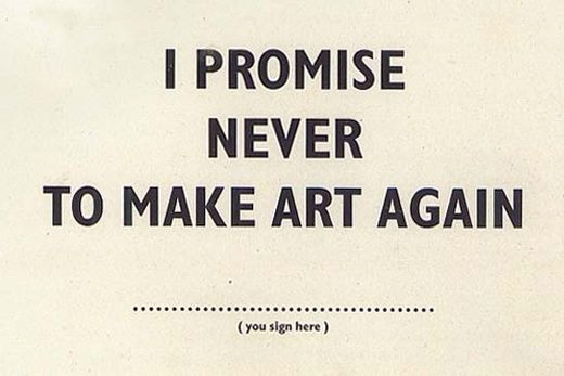 "Fig.8 Bob e Roberta Smith, ""I Promise Never to Make Art Again"", Art Amnesty, 2014"