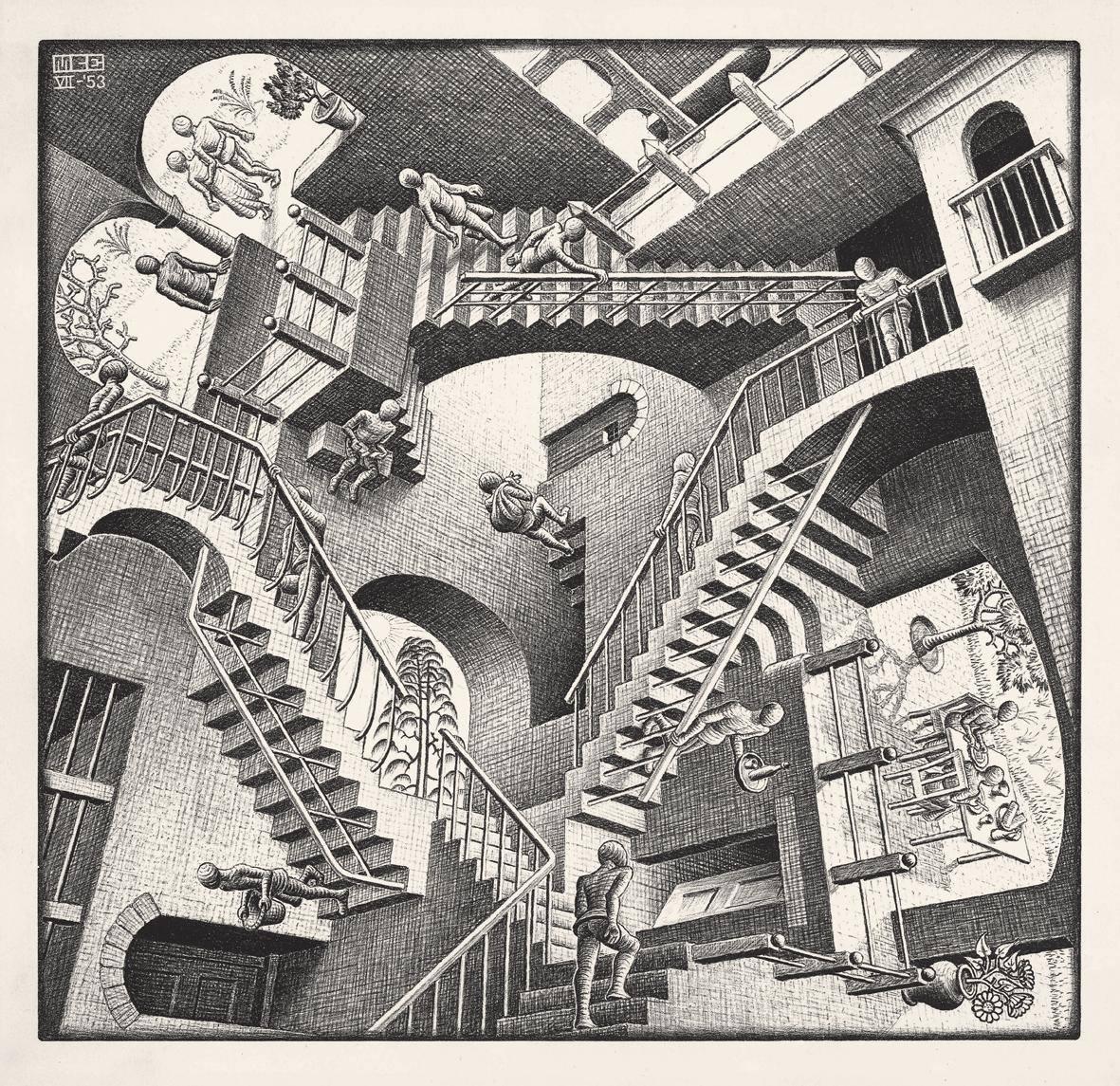 Scalinate rappresentanti la relatività della mente