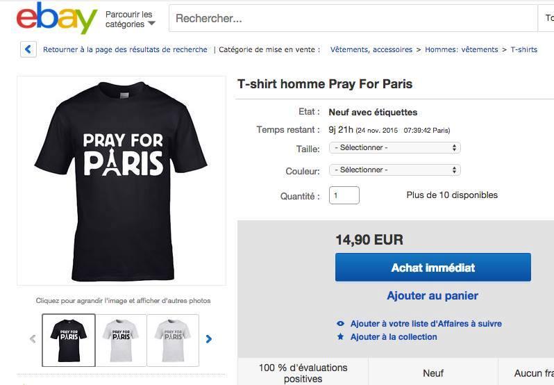 Magliette Pray for Paris in vendita su Ebay a poche ore dalle stragi