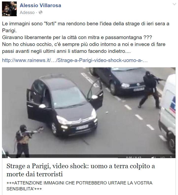 Un militante del Movimento 5 stelle commenta la foto di Charlie Hebdo